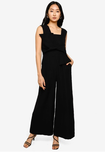 Hopeshow black Sleeveless Jumpsuit with Chest Wrap CA9B4AAD758D6FGS_1