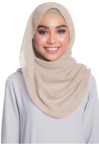 UMMA brown Aisya Semi Instant Scarf UM594AA0SBTQMY_1