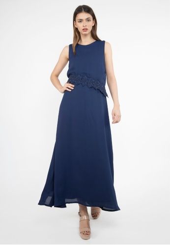Apple & Eve navy Embellished Crochet Lace on Hem Gown 7C468AA86B3A67GS_1