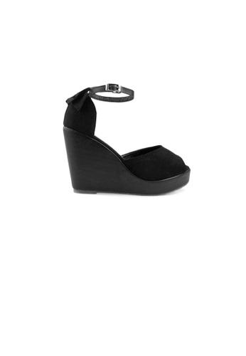 SHINE black Bowknot  Platform Wedge Sandals 6E426SH47E4BB5GS_1