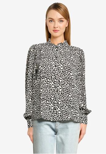 JACQUELINE DE YONG black Milo Frill Shirt E1DEAAA565AA8EGS_1