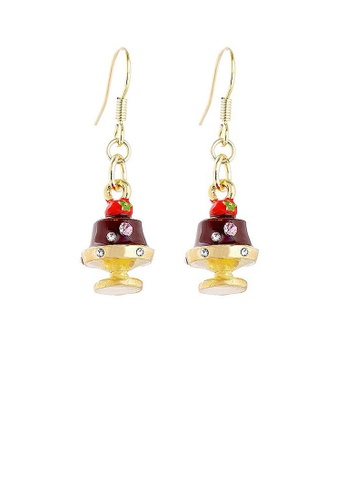 Glamorousky silver Glistering Chocolate Pudding Earrings with Pink and Silver CZ DD37BAC208257DGS_1