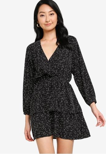 ZALORA BASICS black Tiered Mini Wrap Dress 43A2DAA468AFF7GS_1