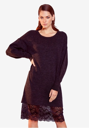 LC Waikiki 灰色 Lace Detailed Batwing Sleeve Tricot Dress 6BD5AAA794C6F4GS_1