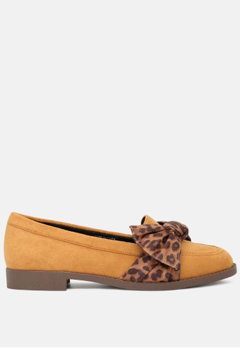 London Rag brown Leopard Printed Bow Loafers SH1775 555D2SH944F826GS_1