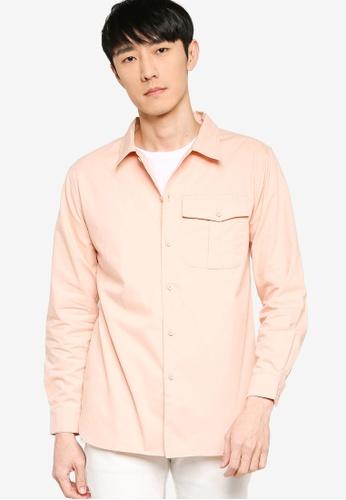 ZALORA BASICS pink Regular Fit Single Pocket Utility Shirt A944DAAD8F4EFDGS_1