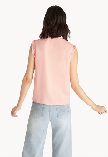 6672d2492f Shop Pomelo Sleeveless Ruffled Top - Peach Online on ZALORA Philippines