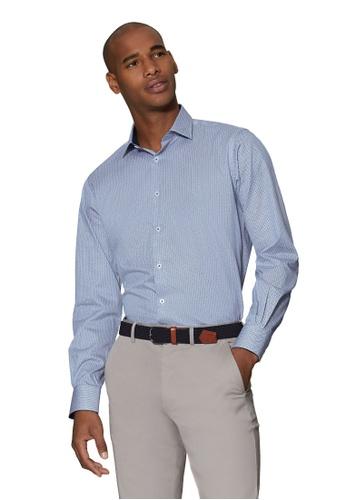 T.M. LEWIN blue T.M.Lewin Retro Catseye Print Blue Single Cuff Shirt 204DBAA3F859DCGS_1
