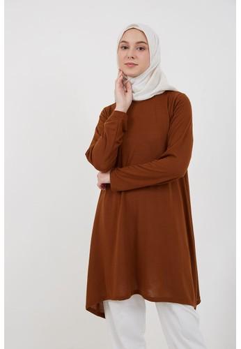 Hijabenka brown Sephia Foni Plain Blouse Brown 4839CAAA86EC77GS_1