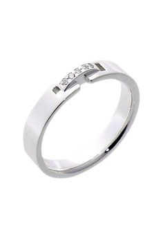 Round Buckle Silver Ring with Artificial Diamonds for Women lr0026f