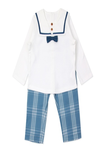 Organic mom white and blue Organic Cotton  Benny Tailor Outfit 78200KACD932EBGS_1