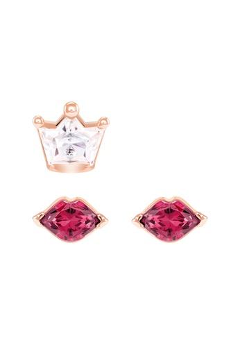Swarovski multi Oot World Asymmetrical Kiss Pierced Earrings FAD05AC3871C23GS_1