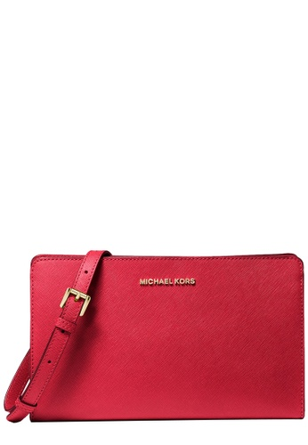 Michael Kors red Michael Kors Jet Set Large Saffiano Leather Convertible Crossbody Bag in Bright Red DBC45AC69F1646GS_1