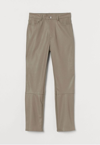 H&M beige Imitation Leather Trousers 3ED0BAA80297BEGS_1
