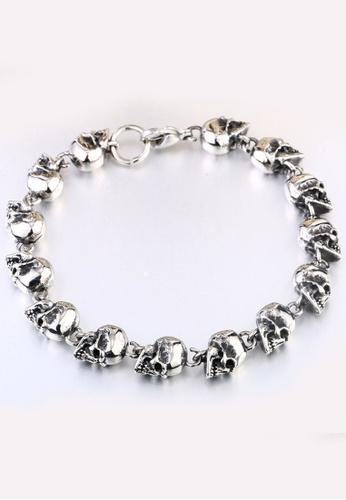LYCKA silver J171067 316L Titanium Steel Skull Bracelet - Silver LY529AC0GVKPSG_1