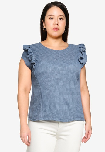 Violeta by MANGO blue Plus Size Textured Top With Ruffles 0E353AA8BBB07BGS_1