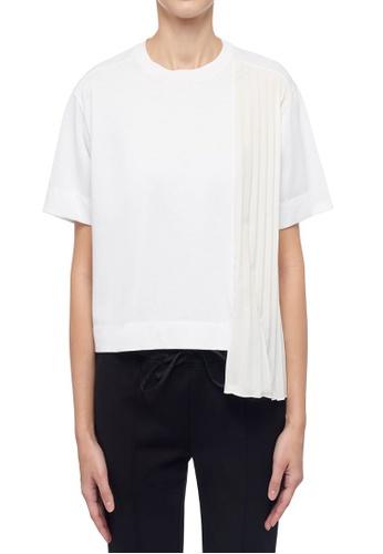 ck Calvin Klein 白色 經典棉質不對稱皺摺綴飾上衣 1E767AA1BB60E2GS_1