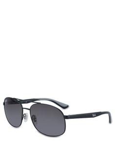 5d42de88172 Ray-Ban black RB3593 Sunglasses 671B4GLE7F3AD4GS 1