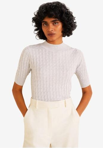 Mango grey Braided Knit Top 8E035AAF4D3A61GS_1