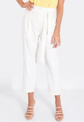 FORCAST white Karen Tie Waist Trousers 8F22BAAC248967GS_1