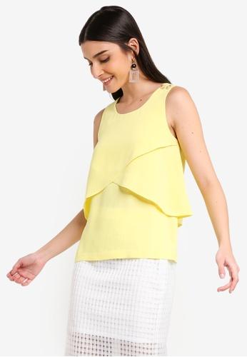 ZALORA 黃色 鈕釦層次無袖上衣 9F5FAAA538CE79GS_1