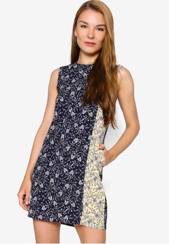 ZALORA WORK 多色 Colourblock Mini Dress F72C7AA50115E1GS_1