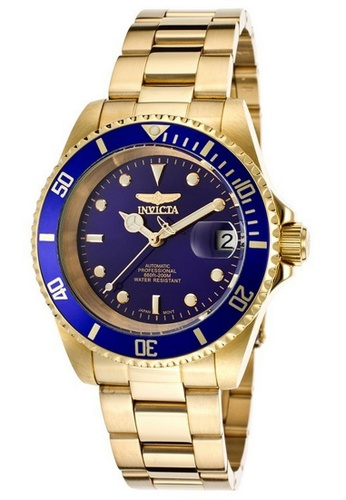 INVICTA black and gold Invicta Pro Diver Men 40mm Case Gold Stainless Steel Strap Blue Dial Automatic Watch 8930OB IN968AC0F5FOSG_1