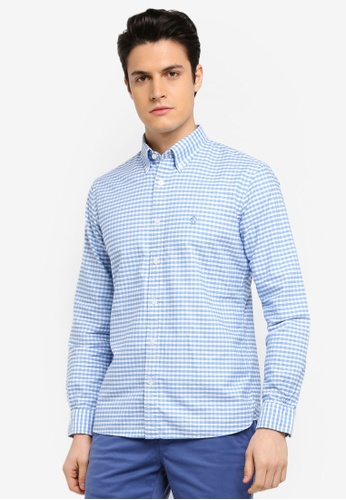 Brooks Brothers blue Red Fleece Oxford Gingham with Logo Blueging Shirt F63FEAA7DEAF1FGS_1