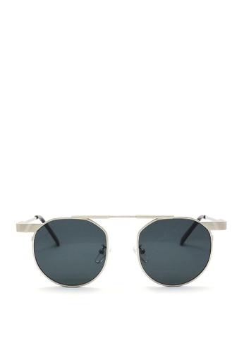 Kaca-kaca black and silver Kaca Kaca Noel Silver Sunglasses KA666AC0S06TMY_1