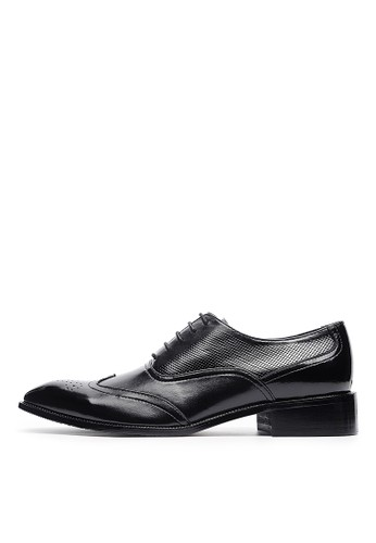 W微esprit鞋子孔壓紋。頭層牛皮牛津鞋-04690-黑色, 鞋, 皮鞋
