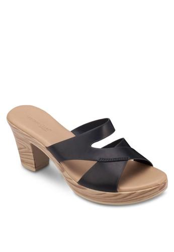 木紋粗跟交叉帶涼esprit 內衣鞋, 女鞋, 鞋