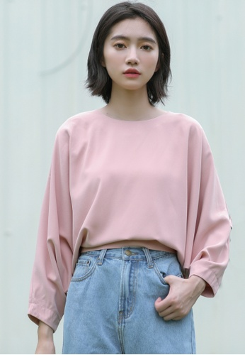Shopsfashion pink Bat Sleeve Loose Fit Blouse in Pink SH656AA0GM58SG_1