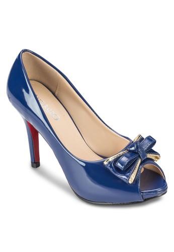 蝴蝶結露趾漆皮高跟鞋, 女鞋, zalora 泳衣高跟