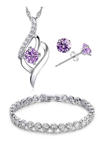 YOUNIQ silver YOUNIQ Weave 925 Sterling Silver Necklace Pendant with Purple Cubic Zirconia, Earrings and Bracelet Set YO999AC41KZMMY_1