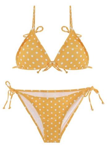 Halo yellow Dot Printed Swimsuit Bikini BE4C9US771E081GS_1