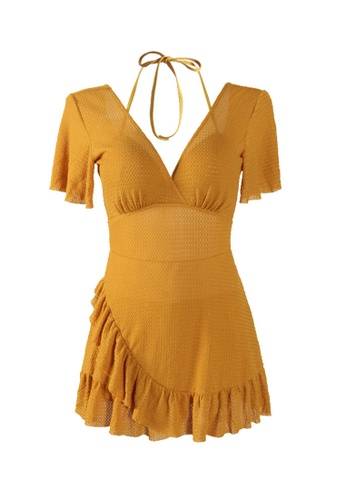 ZITIQUE yellow Women's Deep V One-piece Swimsuit - Yellow 185B0US6B64DF1GS_1