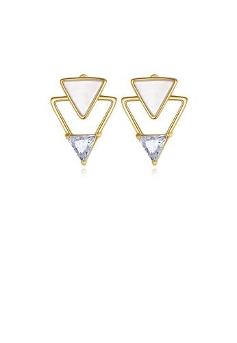Glamorousky 白色 925純銀鍍金色簡約個性三角形耳釘配鋯石 D872DAC03B695EGS_1