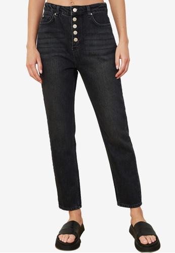Trendyol black Front Button High Waist Jeans C1B85AA9F24EF6GS_1