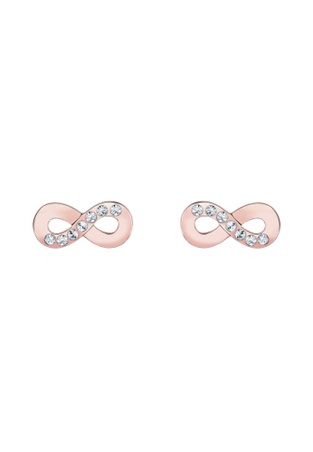 Elli Germany gold Elli Germany 925 Sterling Silver Rose Gold-Plated Infinity Swarovski® Crystal Earrings EL474AC0S1ZWMY_1