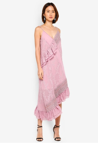 LOST INK pink Paneled Embroidered Cami Shift Dress A86BDAA69E11BEGS_1