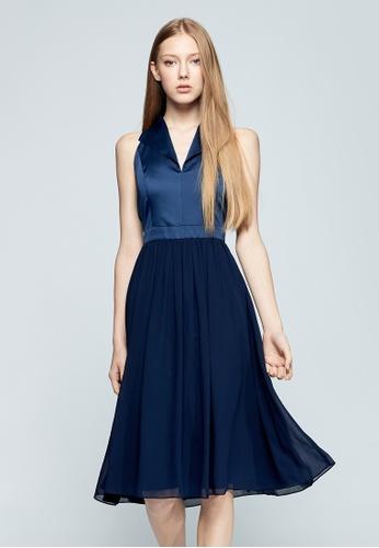 iROO blue Sleeveless Dress 4BFBBAADB7E1A6GS_1