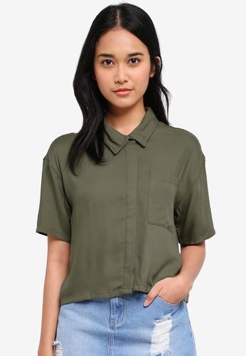 Penshoppe green Twill Shirt With Button-Down Collar F0A9AAAE145A47GS_1