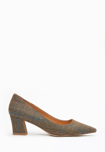 PAZZION brown Tartan Pointed Toes Pumps B9797SH9C04F95GS_1