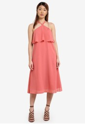 Something Borrowed pink Double Layer Midi Dress 9EC2AZZ76C79FCGS_1