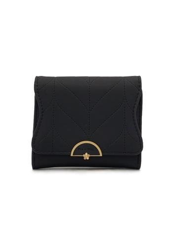 Polo Hill black Polo Hill Ladies Leaf Inspired Stitching Tri-Fold Short Wallet 0F0A0AC1CA1814GS_1