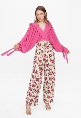 Pomelo multi Rose Center Pleat Pants - Beige 7138DAAAF8419CGS_1
