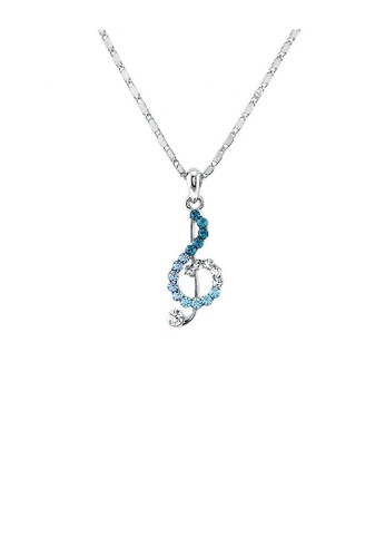 Glamorousky blue Musical Note Pendant with Silver and Blue Austrian Element Crystals and Necklace 538DFAC6348032GS_1