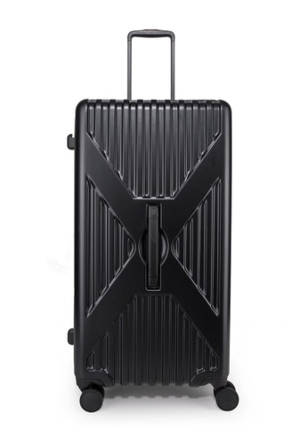 """Lushberry black and silver Axel Hardcase luggage 30"""" 0559BAC563ED76GS_1"""