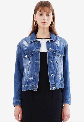 Hopeshow blue Faded Denim Jacket B3789AA1BF14F5GS_1