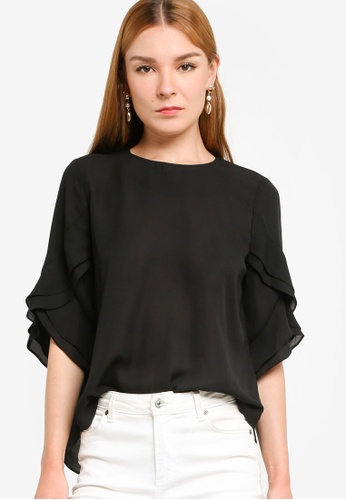 ZALORA WORK black Contrast Ruffle Detail Top CC54CAA25953F1GS_1